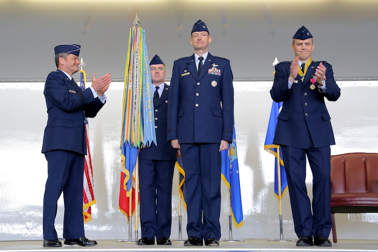 JOINT BASE ELMENDORF-RICHARDSON, Alaska -- Air Force Col. Christopher Niemi became the 3rd Wing commander in a change-of-command ceremony May 20, 2016 at Hangar 1 on JBER. (U.S. Air Force photo/Alejandro Pena)