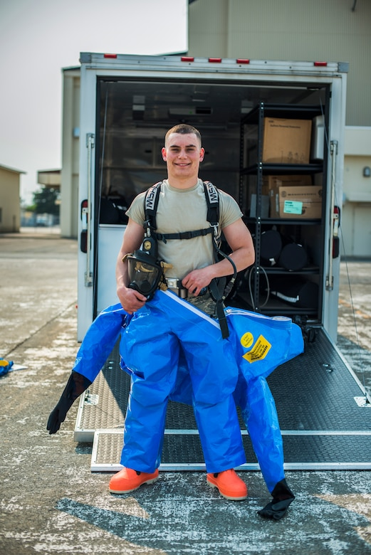 U.S. Air Force Airman 1st Class Petri Brand, a bioenvironmental engineer journeyman with the Aerospace Medicine Squadron, poses for a portrait at Misawa Air Base, Japan, May 19, 2016. Brand was recognized as the Wild Weasel of the Week by the 35th AMDS for his superior performance, outstanding work ethic and overall good conduct and discipline. (U.S. Air Force photo by Senior Airman Brittany A. Chase)