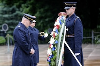 Army Command Sgt. Maj. John W. Troxell, left, senior enlisted advisor to the chairman of the Joint Chiefs of Staff, pays respects at the Tomb of the Unknown Soldier to honor National Armed Forces Day in Arlington National Cemetery, Arlington, Va., May 21, 2016. DoD photo by Marvin D. Lynchard
