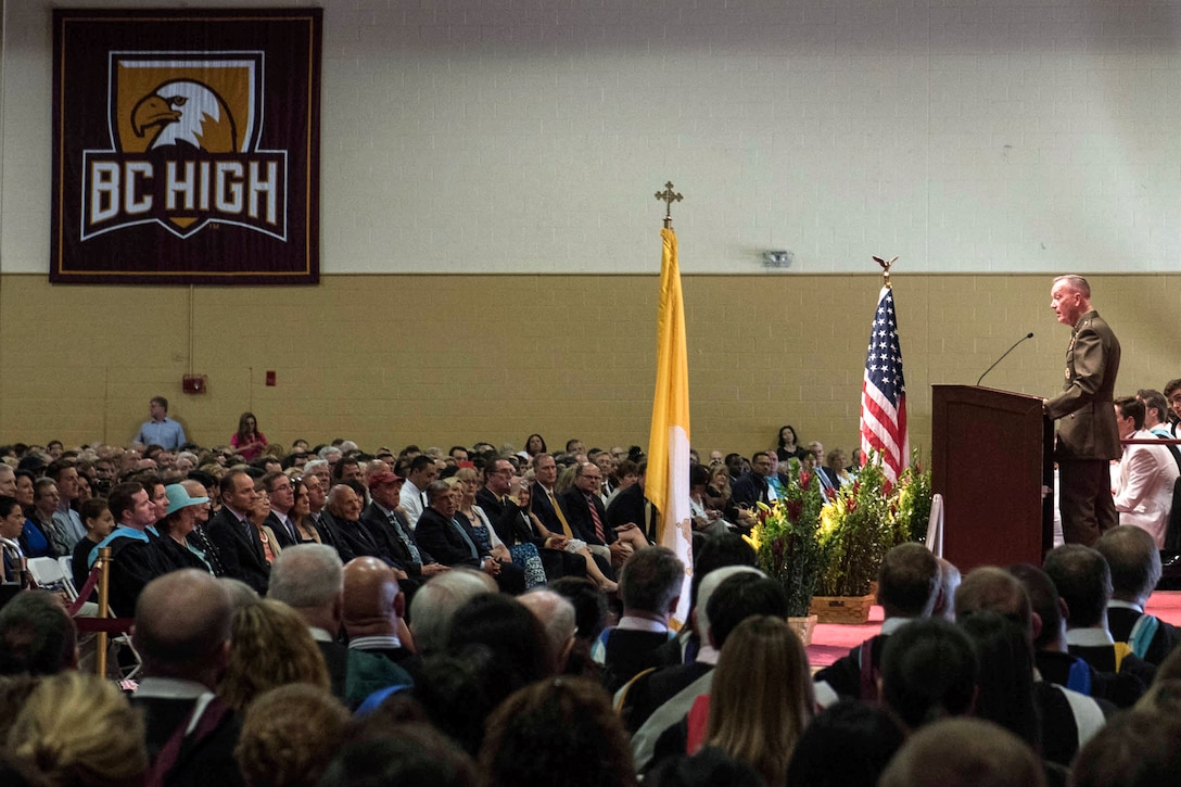 Marine Corps Gen. Joe Dunford, chairman of the Joint Chiefs of Staff, delivers the commencement address for the 2016 graduating class of Boston College High School in Boston, Mass., May 22, 2016.  General Dunford graduated from Boston College High School in 1973, went on to St Michael's College, and recieved his commission in 1977. Photo by D. Myles Cullen