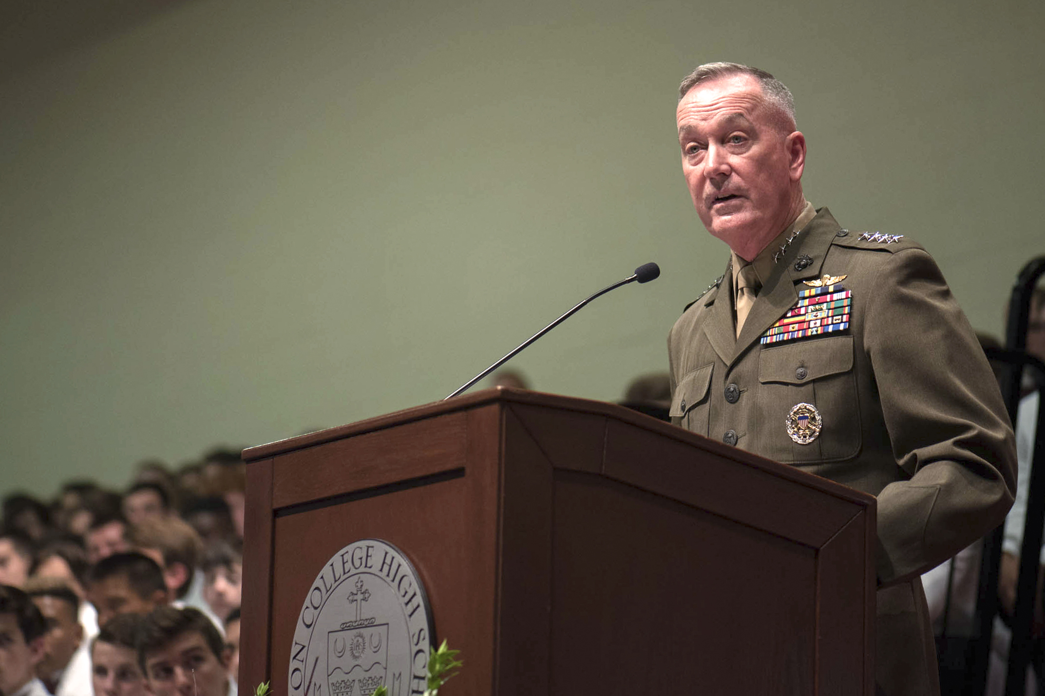 Marine Corps Gen. Joe Dunford, chairman of the Joint Chiefs of Staff,  delivers