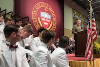 Marine Corps Gen. Joe Dunford, chairman of the Joint Chiefs of Staff, delivers the commencement address at his alma mater to graduates of Boston College High School in Boston, May 22, 2016. A Boston native, Dunford graduated from the high school school in 1973, went on to St Michael's College and received his commission in 1977. DoD photo by D. Myles Cullen