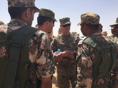 Army Gen. Joseph L. Votel, commander of U.S. Central Command, visiting the site of exercise Eager Lion 2016 in Zarqa, Jordan.