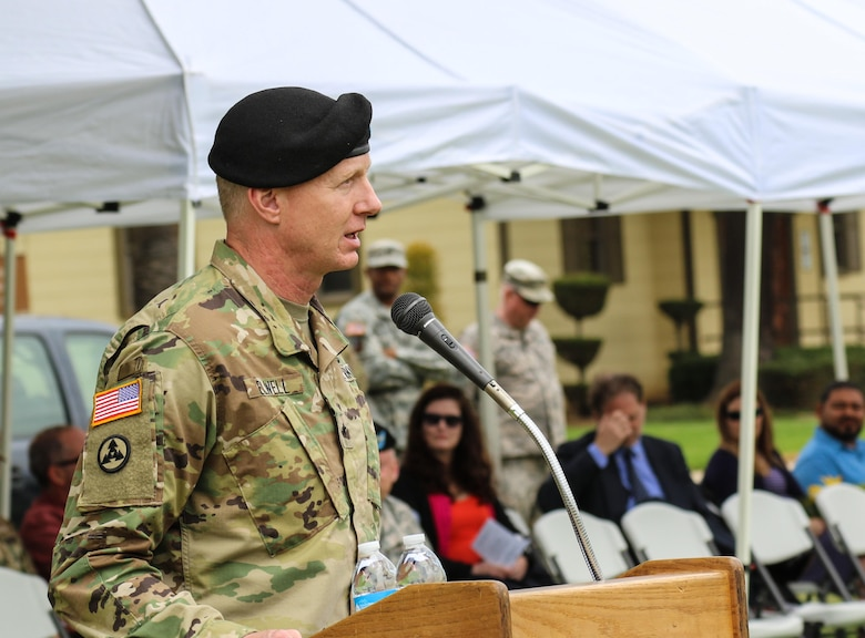Brig. Gen. David Elwell, Commanding General, 311th Sustainment Command (Expeditionary), addresses the Soldiers and Families during the 304th Sustainment Brigade's Change of Command Ceremony, March Air Reserve Base, Riverside, Calif., May 15, 2016. (Photo courtesy of Staff Sgt. Ailid Beckstrom, 304th SB)