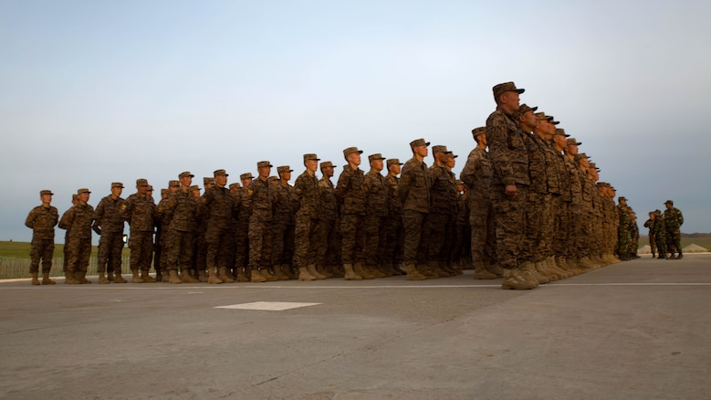 Members of the Mongolian Armed Forces stand in formation before the Khaan Quest 2016 opening ceremonies at Five Hills Training Area, Ulaanbaatar, Mongolia May 22. Khaan Quest 2016 is an annual multinational peacekeeping operations exercise conducted in Mongolia and is the capstone exercise for the Global Peace Operations Initiative.