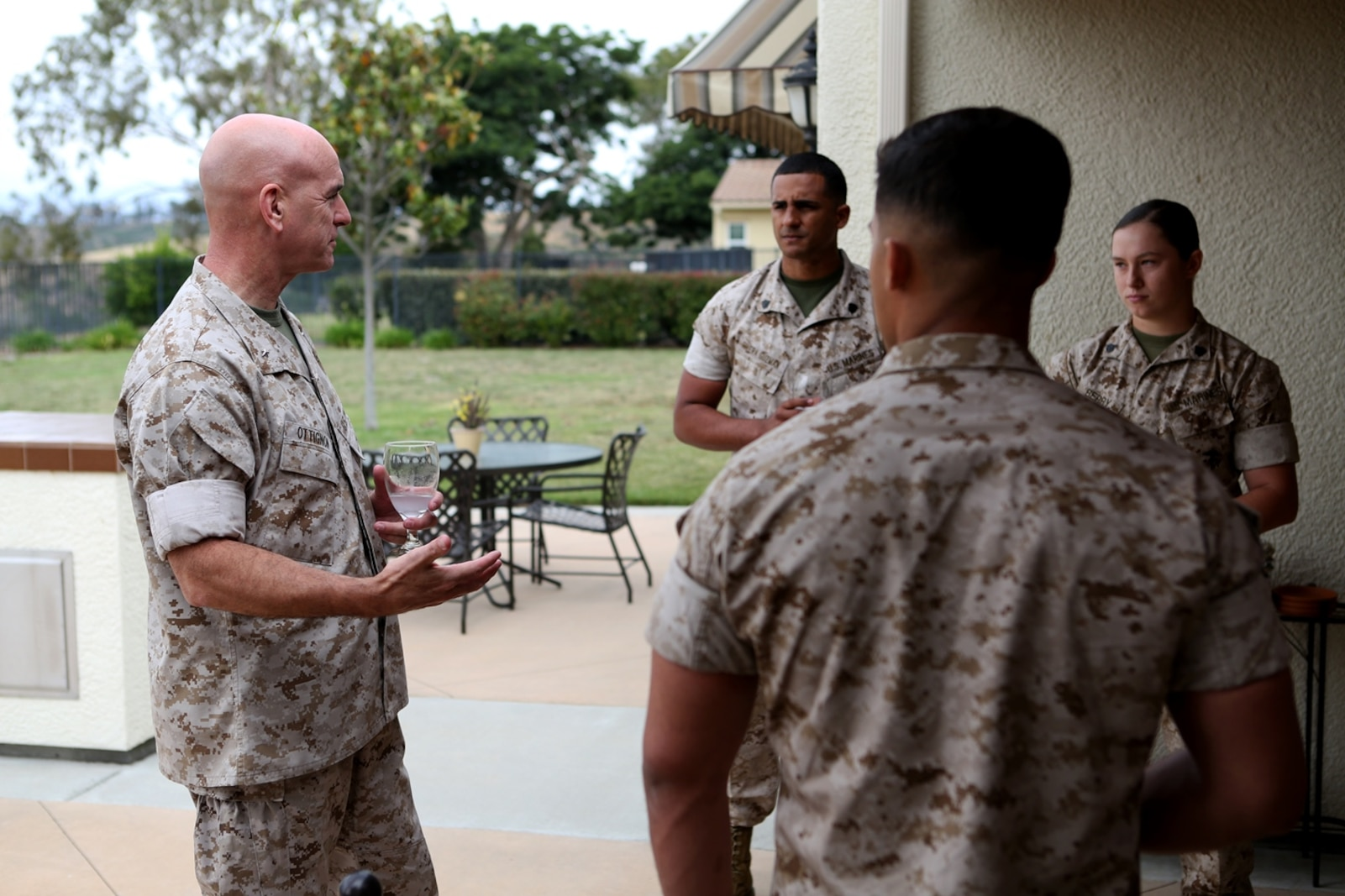 U.S. Marine Brig. Gen. David A. Ottignon speaks with meritoriously promoted sergeants from 1st Marine Logistics Group about leadership and the new role they will have as sergeants of Marines during a lunch he hosted for them aboard Camp Pendleton, Calif., May 17, 2016. Ottignon is the commanding general of 1st MLG. During the gathering the Marines had an opportunity to speak with their most senior leaders, to include the MLG commanding general, sergeant major, and command master chief. The four Marines promoted were Sgt. Olivia Berry, a combat engineer with Combat Logistics Battalion 5, Sgt. Lucas Ferreira, a combat engineer with 7th Engineer Support Battalion, Sgt. Jose Gaytan, an engineer equipment mechanic from Combat Logistics Battalion 11, and Sgt. Hector RiveraGuzman, a warehouse clerk with 1st Supply Battalion. (U.S. Marine Corps photo by Sgt. Carson Gramley/released)
