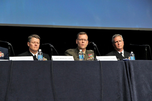 Marine Corps Systems Command Commander Brig. Gen. Joseph Shrader (center) joined Navy and Coast Guard acquisition leaders to discuss the future of equipping and sustaining the sea services at the Navy League's Sea Air Space Global Maritime Exposition at National Harbor, Maryland, May 18. He outlined the top four acquisition challenges and opportunities the Corps is addressing to ensure readiness today and tomorrow. (U.S. Marine Corps photo by Ashley Calingo)