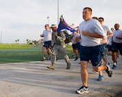 Members of the 45th Space Wing participated in a Quarterly Wing Run lead by the 45th Security Forces Squadron, as part of National Police Week. Participants had three options for this unique Wing Run. Options included: a 5K run in Air Force physical training gear, a 2-Mile Ruck March in ABUs with ruck weight, or a 5K Ruck March in ABUs. (U.S. Air Force photos/Matthew Jurgens/Released)