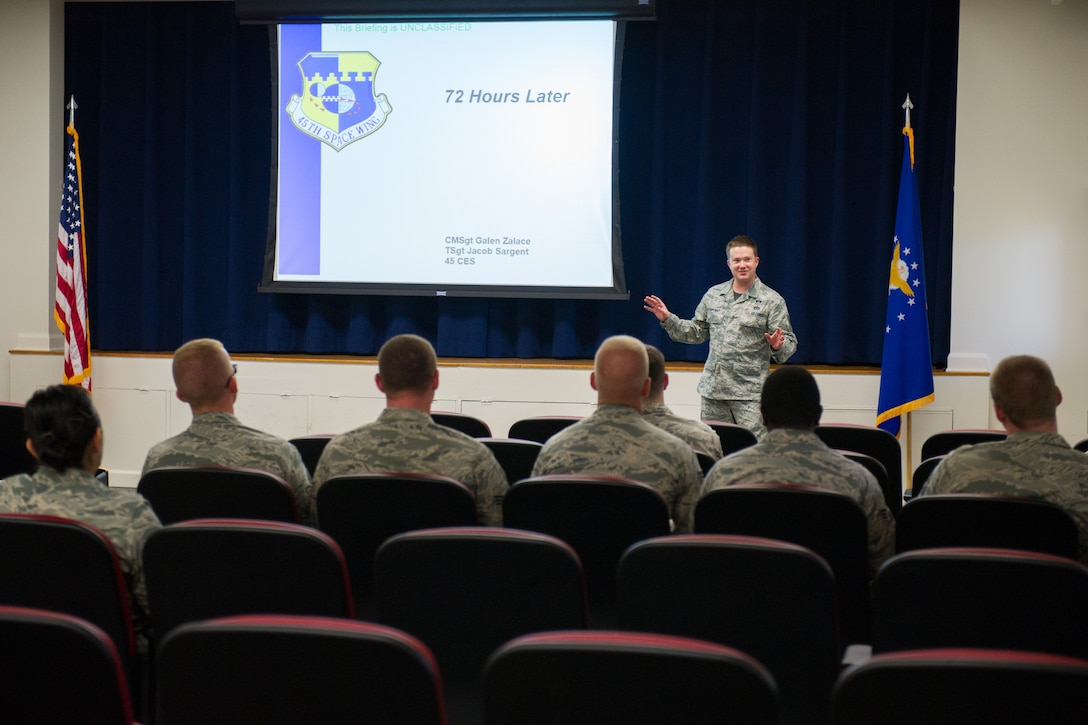 Members of the 45th Space Wing participated in Wingman Day May 20, 2016, at Patrick Air Force Base, Fla. Wingman Day provides Airmen with an opportunity to focus on each other, reflect on the importance of their teammates, and the mission. The theme for this Wingman Day is: Creating a Culture of Greatness: Respect-Discipline-Professionalism. Several classes were offered to Airmen and DOD civilians which were designed to help the team be resilient and be the best that they can be by giving 100 percent every day. (U.S. Air Force photos/Benjamin Thacker/Released)