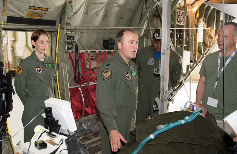 Capt. Peter Traylor, 81st Medical Group intensive care nurse, briefs Air Force Reserve employers about his job with the Critical Care Transport Team. The specialized medical team, which consists of a doctor, intensive care nurse and respiratory therapist, operates a portable intensive care unit when coupled with an aeromedical team. Fifteen employers from across the nation learned about the mission of the Employer Support of the Guard and Reserve, Air Force Reserve and 403rd Wing during the Air Force Reserve Command Employer Appreciation Day May 20, 2016, at Keesler Air Force Base, Mississippi. (U.S. Air Force photo/Marie Floyd)
