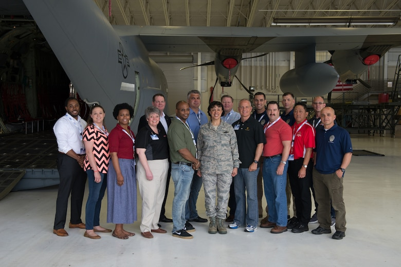 Maj. Gen. Stayce D. Harris, 22nd Air Force commander, and 15 employers of U.S. Air Force reservists from across the nation took in the Air Force Reserve Command Employer Appreciation Day May 20, 2016, at Keesler Air Force Base, Mississippi. The event provided employers the opportunity to learn about the missions of the Employer Support of the Guard and Reserve, U.S. Air Force Reserve and 403rd Wing.(U.S. Air Force photo/Marie Floyd)