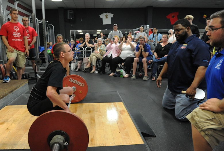 Garrett Lofton, Special Olympics athlete, deadlifts 170 pounds during the Special Olympics Mississippi Summer Games at the Triangle Fitness Center May 21, 2016, Keesler Air Force Base, Miss. More than 700 athletes and 3,000 volunteers worked together to hold competitions throughout the day. This is the 30th year Keesler has hosted the state Special Olympics.  (U.S. Air Force photo by Kemberly Groue)