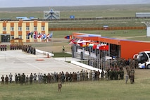 A formation of multinational troops particpate in the Khaan Quest opening ceremony held at Five Hills Training Center, Mongolia, May 22, 2016.  Khaan Quest 2016 is an annual multinational peacekeeping operations exercise conducted in Mongolia and is the capstone exercise for this year's Global Peace Operations Initiative program.