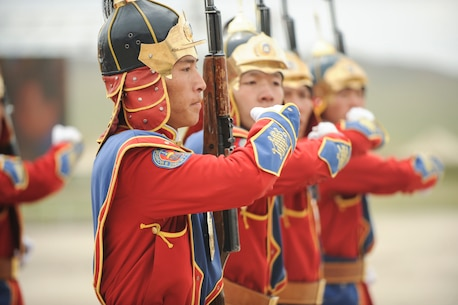 160522-N-WI365-193 ULAANBAATAR, Mongolia (May 22, 2016) - Members of the Mongolian Armed Forces Honor Guard march in formation at the parade field during the Khan Quest 2016 opening ceremony in Mongolia. Khan Quest 2016 is an annual multinational peacekeeping operations exercise conducted in Mongolia and is the capstone exercise for this year's Global Peace Operations Initiative program.