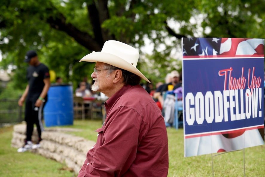 Dwain Morrison, San Angelo mayor, listens to the U.S. Air Force Band of the West, Sky Country, during Goodfellow Appreciation Day at the RiverStage in San Angelo, Texas, May 21, 2016. Sky Country covered various songs throughout the day to entertain event attendees and volunteers for the San Angelo Chamber of Commerce hosted Armed Forces Day celebration. (U.S. Air Force photo by Senior Airman Joshua Edwards/Released)