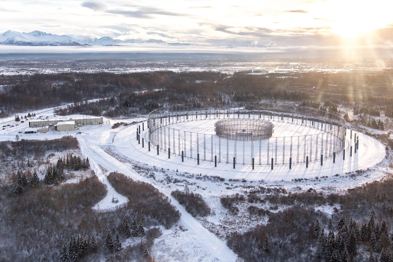 "A large circular antenna array, the AN/FLR-9, or Flare-9, at Joint Base Elmendorf-Richardson was built in 1966 during the height of the Cold War. The facility is commonly referred to as the ""Elephant Cage"" due to it's large 40-acre footprint. JBER's Flare-9 antenna will be officially shut down for the first time in 50 years on 25 May, 2016. (Courtesy photo)"