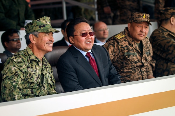 U.S. Navy Adm. Harry B. Harris, commander, U.S. Pacific Command, and Mongolian President Tsakhiagiin Elbegdorj, speak before the Khaan Quest 2016 opening ceremony at the Five Hills Training Area, Mongolia, May 22, 2016. Khaan Quest is an annual, multinational peacekeeping operations exercise conducted in Mongolia and is the capstone exercise for this year's United Nations Global Peace Operations Initiative program.