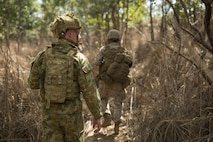 Australian Army Pvt. Jacob Handley, combat engineer, searches through the thicket with U.S. Marines at Hidden Valley Motor Sports Complex, Northern Territory, Australia, on May 19, 2016. U.S. Marine and Australian Army combat engineers conducted clearing training to find improvised explosive device and caches. Marine Rotational Force - Darwin is a six-month deployment of Marines into Darwin, Australia, where they will conduct exercises and train with the Australian Defence Forces, strengthening the U.S.-Australia alliance. Handley is with 1st Combat Engineer Regiment, 1st Brigade.