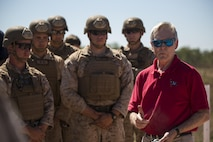 """Ray Mabus, Secretary of the Navy, talks to Marines with the Scout Sniper Platoon at Mount Bundey Training Area, Northern Territory, Australia, May 14, 2016. """"The greatest honor of my life is leading the Navy and the Marine Corps, Semper Fi Marines,"""" Mabus said. He came to Australia to visit the Marines and Sailors of Marine Rotational Force – Darwin and observe live-fire ranges. The Marines are with 1st Battalion, 1st Marine Regiment, MRF-D."""