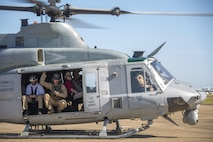 Ray Mabus, Secretary of the Navy, prepares to depart Royal Australian Air Force Base Darwin, Northern Territory, Australia, in a UH-1Y Venom helicopter from Marine Light Attack Helicopter Squadron 367, May 14, 2016. Mabus came to Darwin to visit the Marines and Sailors of MRF-D and observe live-fire ranges.