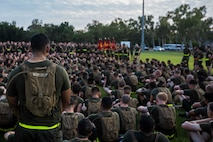 U.S. Marine Corps Sgt. Maj. Stuart D. Glass, Sergeant Major 1st Battalion, 1st Marine Regiment, gives a brief to the Marines before a formation run on Robertson Barracks, Darwin, Australia, April 29, 2016. Running together helps Marines acclimatize to the hot and humid Australian environment during Marine Rotational Force - Darwin (MRF-D). MRF-D is a six-month deployment of Marines into Darwin, Australia, where they will conduct exercises and train with the Australian Defence Forces, strengthening the U.S.-Australia alliance.