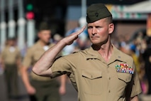 U.S. Marine Corps Lt. Col. Steven Sutey Commanding Officer of 1st Battalion, 1st Marine Regiment, marches in the Australian New Zealand Army Corps (ANZAC) Day in Darwin, Australia on April 25, 2016. Marine Rotational Force Darwin (MRF-D) is a six-month deployment of Marines into Darwin, Australia, where they will conduct exercises and train with the Australian Defence Forces, strengthening the U.S.-Australia alliance.