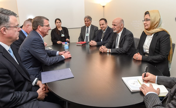 U.S. Defense Secretary Ash Carter meets with Afghan President Ashraf Ghani, second from right, in Davos, Switzerland, earlier this year. (DoD photo by Army Sgt. 1st Class Clydell Kinchen)