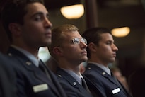 Air Force cadets listen as Defense Secretary Ash Carter delivers remarks at an Air Force and Navy ROTC commissioning ceremony at Yale University in New Haven, Conn., May 23, 2016. DoD photo by Air Force Senior Master Sgt. Adrian Cadiz