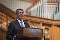 Defense Secretary Ash Carter delivers remarks during the ROTC commissioning ceremony at Yale University in New Haven, Conn., May 23, 2016. DoD photo by Air Force Senior Master Sgt. Adrian Cadiz