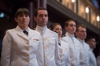 Navy ROTC midshipmen stand at attention as Defense Secretary Ash Carter delivers remarks during a commissioning ceremony at Yale University in New Haven, Conn., May 23, 2016. DoD photo by Air Force Senior Master Sgt. Adrian Cadiz
