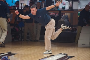 MSgt Joshua Chambliss. First Sergeant, 19th Security Forces Squadron, Little Rock Air Force Base, Arkansas, warms up during the Armed Forces Bowling Championships at Travis Air Force Base, California (U.S. Air Foce Photo by Louis Briscese)