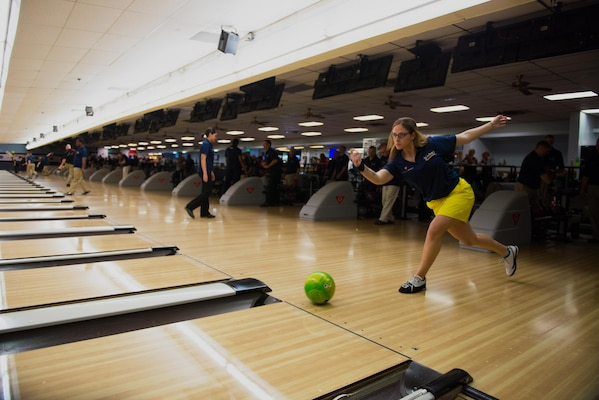 PS1 Ashley Grey, personnel specialist, Kings Bay Georgia, warms up during the Armed Forces Bowling Championships at Travis Air Force Base, California (U.S. Air Foce Photo by Louis Briscese)