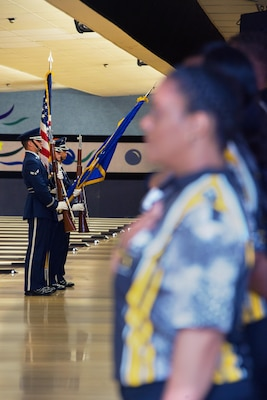 The Travis Air Force Base honor guard presents the colors during the opening ceremony at the Armed Forces Bowling Championship, Travis Air Force Base, Calif, May 11, 2016. (U.S. Air Force Photo by Louis Briscese/Released)