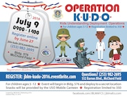 Joint Base Lewis McChord is holding an Operation KUDO event to help kids understand deployment operations July 9 from 9 a.m. until 2 p.m. Members can register and find more information about the event at jblm-kudo-2016.eventbrite.com. The deadline to register is June 27.