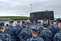Defense Secretary Ash Carter addresses service members at Naval Submarine Base New London in Groton, Conn., May 24, 2016. Carter commended them for their work and asked them to help in attracting and retaining their successors. DoD photo by Stephanie Dreyer