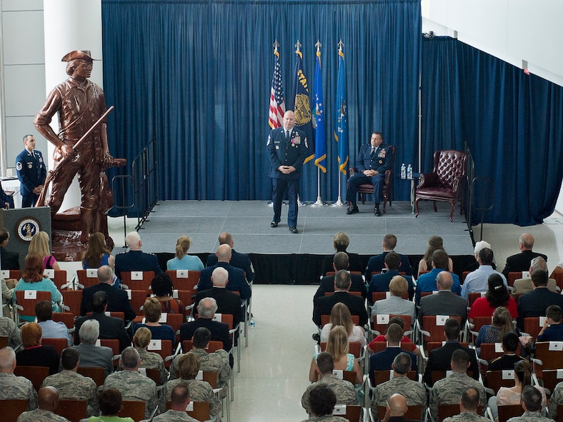 Chief Master Sgt. James W. Hotaling, the command chief master sergeant of the Air National Guard, speaks during his retirement ceremony May 20, 2016, at the Air National Guard Readiness Center on Joint Base Andrews, Md. Hotaling retired after a combined 28 years of service in the Air Force, Air Force Reserve, Air National Guard, and U.S. Coast Guard. (U.S. Air National Guard photo by Staff Sgt. John E. Hillier/Released)