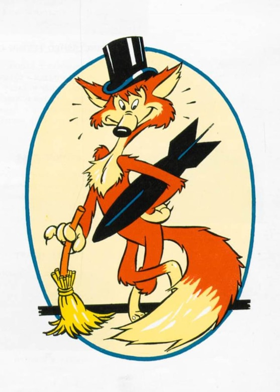 This Fox in a Tophat, sometimes referred to as Frisky, was the unofficial emblem of the 371st Fighter Group during World War II.  The bomb represents the fighter-bomber mission the unit often performed with its P-47 Thunderbolt fighters, while the broom represents the ability to sweep enemy opposition aside.  As an unofficial emblem it did not survive the transition of the unit into the 142nd Fighter Group era, but nonetheless is an interesting element of the unit's World War II-era heritage.  (142FW History Archives)