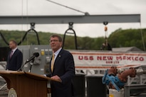 Defense Secretary Ash Carter speaks to sailors at Naval Submarine Base New London, Conn., May 24, 2016. DoD photo by U.S. Air Force Senior Master Sgt. Adrian Cadiz