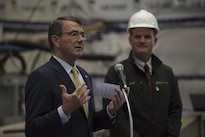 Defense Secretary Ash Carter delivers remarks to employees at an electric boat facility in Groton, Conn., May 24, 2016. DoD photo by Air Force Senior Master Sgt. Adrian Cadiz