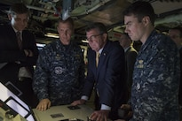 Defense Secretary Ash Carter explores the capabilities of the USS New Mexico during a visit to Naval Submarine Base New London, Conn., May 24, 2016. DoD photo by Air Force Senior Master Sgt. Adrian Cadiz