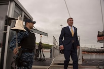 Defense Secretary Ash Carter departs the USS New Mexico after touring the submarine during a visit to Naval Submarine Base New London, Conn., May 24, 2016. DoD photo by Air Force Senior Master Sgt. Adrian Cadiz