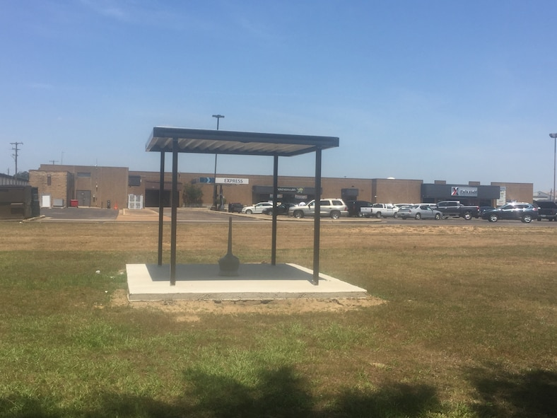 The new Designated Tobacco Area for the Shoppette, Commissary and Exchange stands ready for use May 24 on Columbus Air Force Base, Mississippi. In compliance with recent changes to Air Force Instruction 40-102, the base constructed permanent DTAs and reduced the number of areas across the installation. (U.S. Air Force photo/Master Sgt. Amanda Savannah)