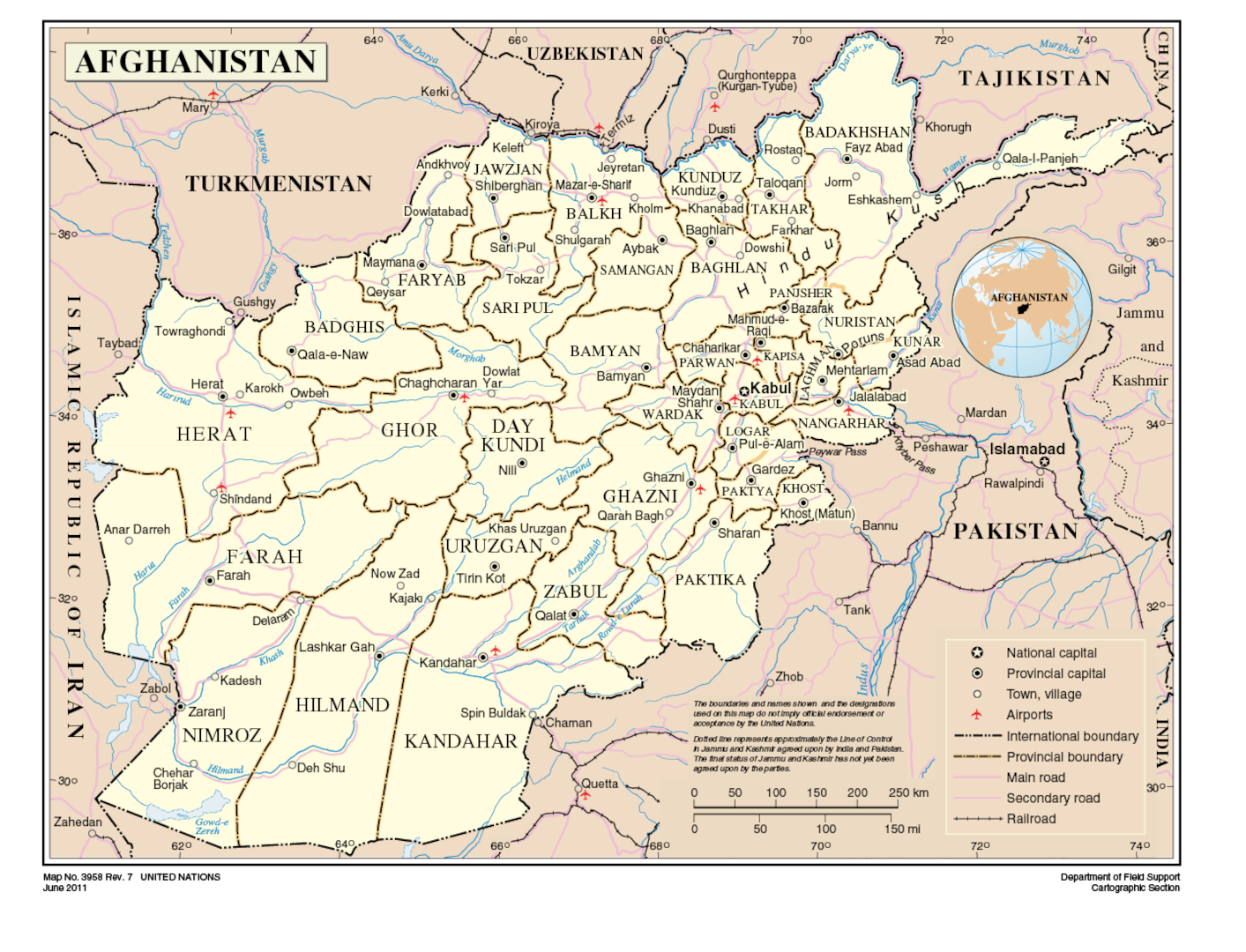 Afghanistan Map No. 3958 United Nations