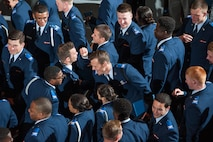 U.S. Air Force Academy Preparatory School cadet candidates celebrate after receiving their graduation certificates May 24 in Arnold Hall. In all, 196 cadet candidates successfully completed the school's 10-month curriculum designed to prepare select candidates to attend the U.S Air Force Academy. (U.S. Air Force photo/Liz Copan)