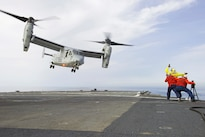 An MV-22B Osprey of Marine Medium Tiltrotor Squadron 263 takes off from the flight deck of USS Mount Whitney in the Mediterranean Sea, May 23, 2016. Navy photo by Seaman Alyssa Weeks
