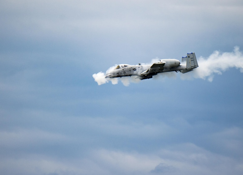 An A-10 Thunderbolt II fires the GAU-8 Avenger, a 30mm Gatling-style canon, over the Grand Bay Bombing and Gunnery Range at Moody Air Force Base, Ga., May 20, 2016. A-10s are used when calls for close air support with the capability to fire rockets, drop bombs or suppress the enemy with the 30mm cannon mounted on the nose of the aircraft. (U.S. Air Force photo by Tech. Sgt. Zachary Wolf/Released)