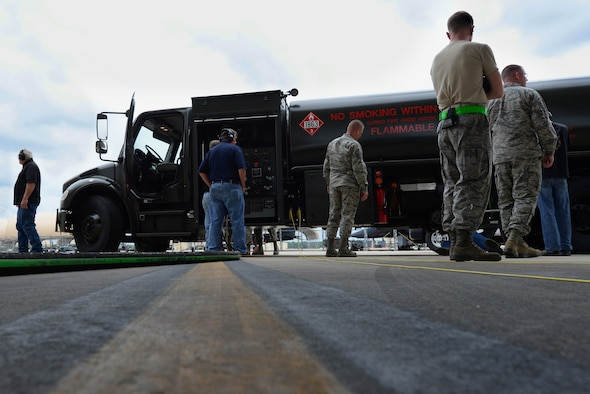The Isometrics R-11 Refueler team tests the truck's revolutions per minute and fuel consumption, May 17, 2016, at Seymour Johnson Air Force Base, North Carolina. Seymour Johnson AFB was chosen as a test facility to determine adjustments before distribution to the military. (U.S. Air Force photo by Airman 1st Class Ashley Williamson)