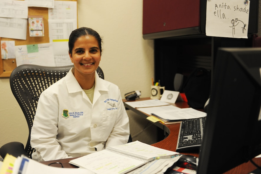 Maj. Anita Shade, 375th Dental Squadron dental residency program director, joined the Air Force almost a decade ago.  Shade grew up in India and moved to Doha, Qatar when she was 23, where she planned on going through training to be a harbor pilot like her father. However, she moved to the U.S. a few months later, where she spent the next 10 years struggling.  Then, she got her U.S. dental license and became an Airman. (U.S. Air Force photo by Staff Sgt. Maria Bowman)