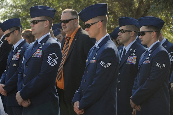 Hundreds from the exploded ordnance disposal community gather at Eglin Air Force Base, Florida, May 7, for an annual joint service memorial in honor of EOD technicians who have died in the line of duty. (U.S. Air Force Photo/Jessica Dupree/Released)