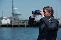 Defense Secretary Ash Carter views an unmanned surface vehicle demonstration at the Naval Undersea Warfare Center in Newport, R.I., May 25, 2016. DoD photo by Air Force Senior Master Sgt. Adrian Cadiz